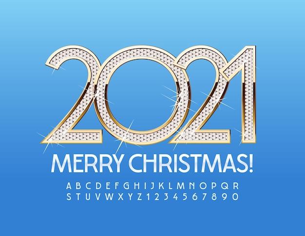 Vrolijk kerstfeest 2021. sneeuwwitje lettertype. alfabetletters en cijfers