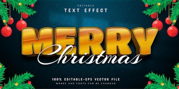Vrolijk kerstfeest 3d gouden teksteffect