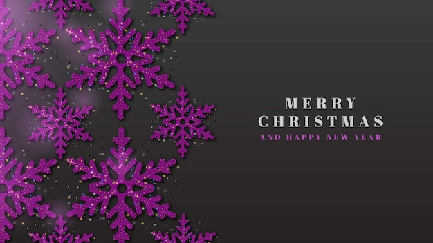 Vrolijk kerstfeest 3d paarse sneeuwvlok achtergrond