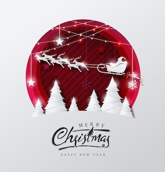 Vrolijk kerstfeest achtergrond versierd met kerstman en herten landschapspapier knippen stijl.