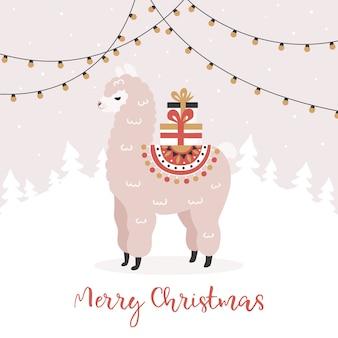 Vrolijk kerstfeest, alpaca met geschenkdozen.