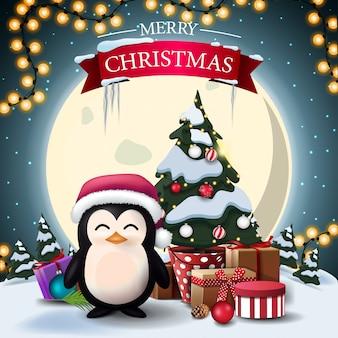 Vrolijk kerstfeest, ansichtkaart met pinguïn in kerstman hoed en kerstboom in een pot met geschenken
