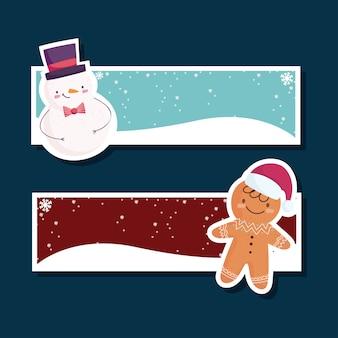 Vrolijk kerstfeest, banner met sneeuwpop en peperkoekman instellen