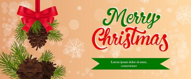 Vrolijk kerstfeest banner ontwerp. dennenappels met rode strik