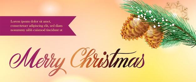 Vrolijk kerstfeest banner ontwerp. dennenappels