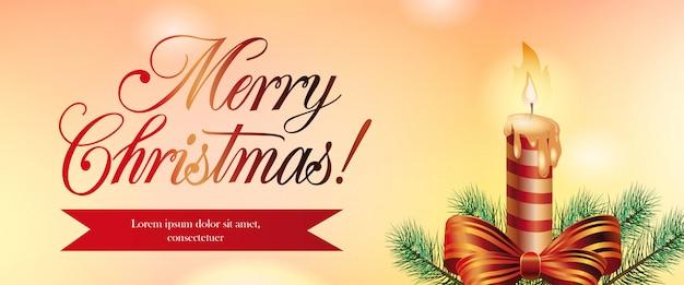Vrolijk kerstfeest banner ontwerp. xmas kaars, boog