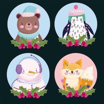 Vrolijk kerstfeest, beer pinguïn sneeuwpop en vos holly berry ronde pictogrammen illustratie