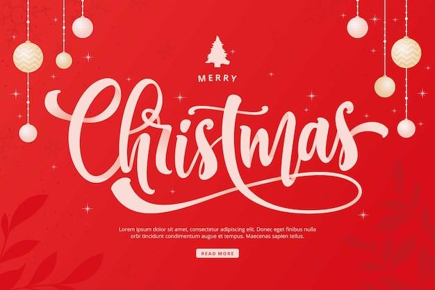 Vrolijk kerstfeest belettering achtergrond