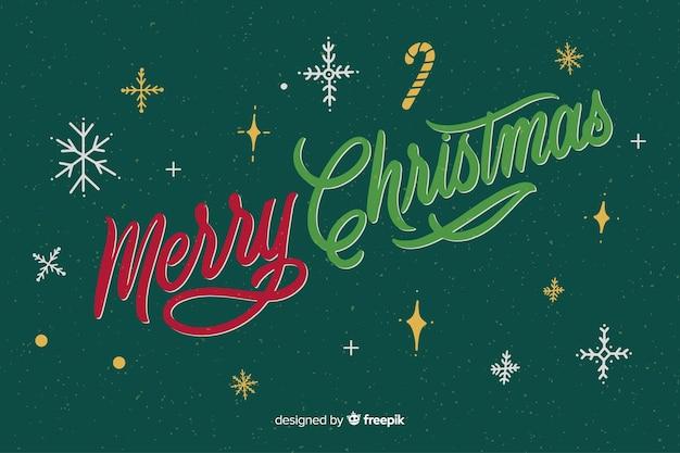 Vrolijk kerstfeest belettering en sterrennacht