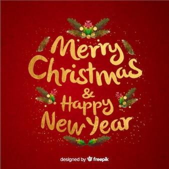 Vrolijk kerstfeest belettering & gelukkig nieuwjaar