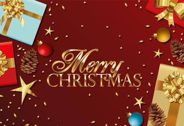 Vrolijk kerstfeest belettering met geschenkdozen en sterren illustratie