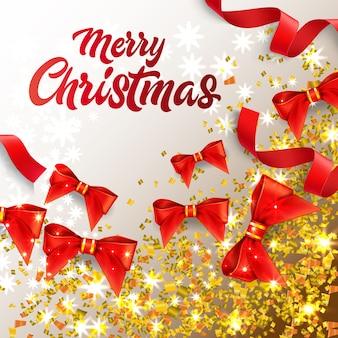 Vrolijk kerstfeest belettering met glanzende confetti en rode bogen