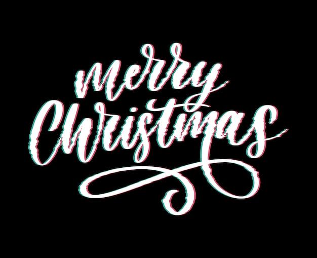 Vrolijk kerstfeest belettering met glitch thema