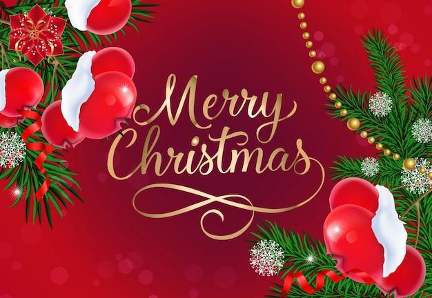 Vrolijk kerstfeest belettering met kralen