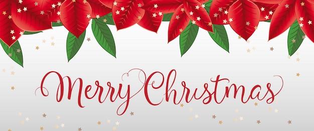 Vrolijk kerstfeest belettering met poinsettia verlaat