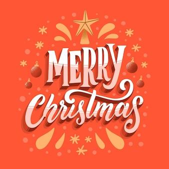 Vrolijk kerstfeest belettering met ster