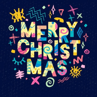 Vrolijk kerstfeest belettering ontwerp