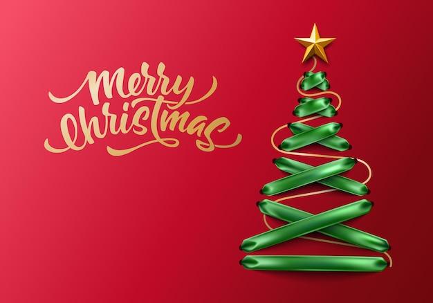 Vrolijk kerstfeest belettering op groene kant-up groene lint kerstboom met gouden ster. boom gemaakt van elegant veter, Premium Vector