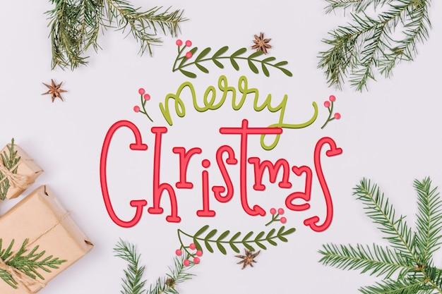 Vrolijk kerstfeest belettering op kerstmis foto