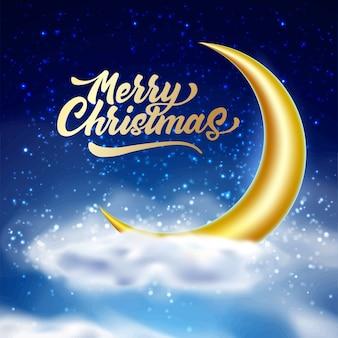 Vrolijk kerstfeest belettering op magische nacht hemelachtergrond met wolk
