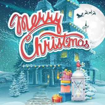Vrolijk kerstfeest belettering over huis 's nachts