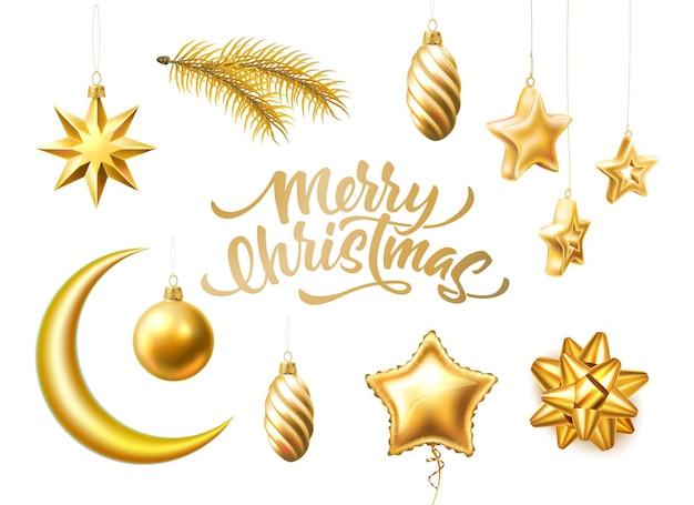Vrolijk kerstfeest belettering realistische gouden symbolen set