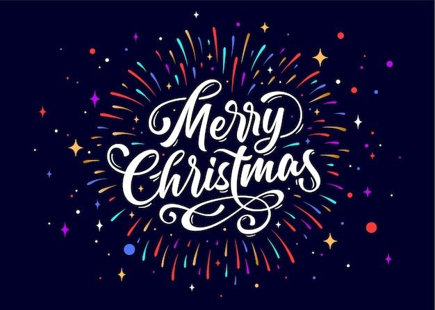 Vrolijk kerstfeest. belettering tekst voor merry christmas. wenskaart met scripttekst vrolijk kerstfeest. vakantie achtergrond met vuurwerk, grafisch, met de hand getekend ontwerp.