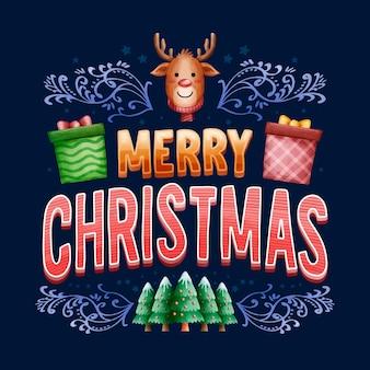 Vrolijk kerstfeest belettering thema
