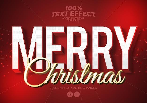 Vrolijk kerstfeest bewerkbaar teksteffect
