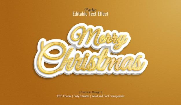 Vrolijk kerstfeest bewerkbare vector 3d-teksteffecten