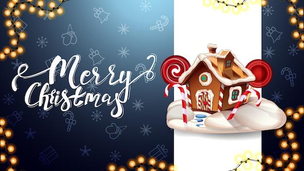 Vrolijk kerstfeest, blauwe ansichtkaart met verticale witte lijn