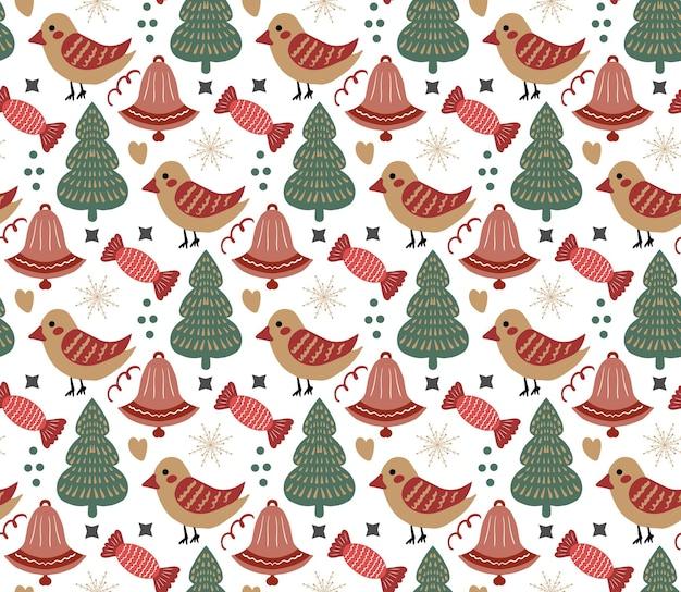 Vrolijk kerstfeest boho naadloos patroon. boheemse wintervakantie herhalende textuur hand tekenen stijl. peperkoek, sneeuwvlokken, kerstboom. vector illustratie.
