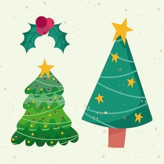 Vrolijk kerstfeest, bomen met sterren en holly berry bal decoratie ornament seizoen iconen