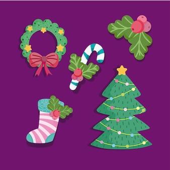 Vrolijk kerstfeest, boom krans candy cane en sok pictogrammen instellen afbeelding