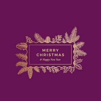 Vrolijk kerstfeest botanische kaart