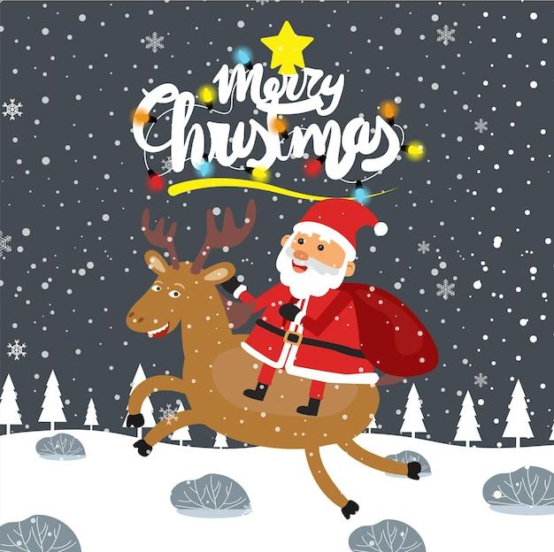 Vrolijk kerstfeest cartoon leuke illustratie