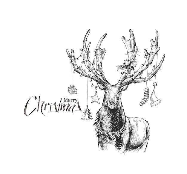 Vrolijk kerstfeest! cartoon stijl hand schetsmatige tekening van rendieren, vectorillustratie