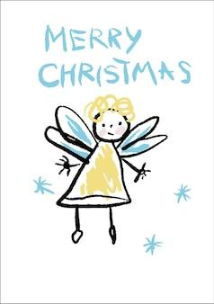 Vrolijk kerstfeest. crayon like kids getekende kleurrijke kaart met schattige engel en handgeschreven tekst. handgetekende vectorillustratie in kinderlijke stijl.
