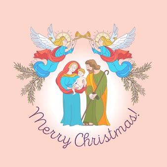 Vrolijk kerstfeest. de heilige familie.