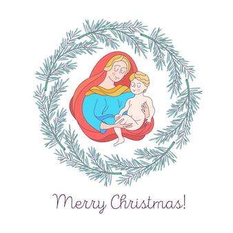 Vrolijk kerstfeest. de maagd maria en het kindje jezus.