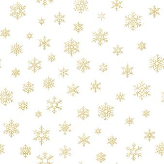 Vrolijk kerstfeest decoratie effect. gouden sneeuwvlok naadloos patroon.