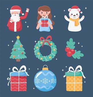 Vrolijk kerstfeest decoratie pictogrammen meisje beer kerstboom krans bal geschenken illustratie