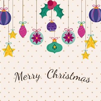 Vrolijk kerstfeest decoratieve hangende kerstballen sterren gestippelde achtergrond afbeelding