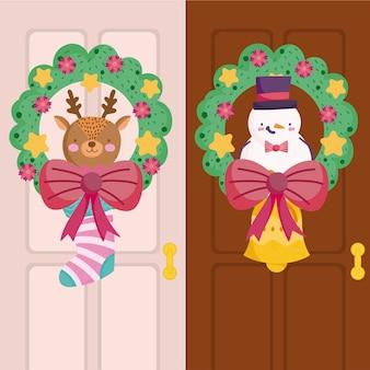Vrolijk kerstfeest, decoratieve krans met rendieren en sneeuwpop in deuren illustratie