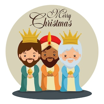 Vrolijk kerstfeest drie magische en wijze koningen