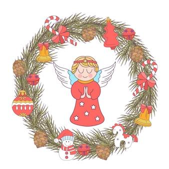Vrolijk kerstfeest. een kerstkrans en een engel.