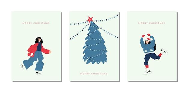 Vrolijk kerstfeest en een gelukkig nieuw jaar! leuk nieuwjaar en kerstmis hand getrokken kerstkaarten met kerstboom en vrouwen karakters schaatsen