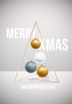 Vrolijk kerstfeest en een gelukkig nieuw poster