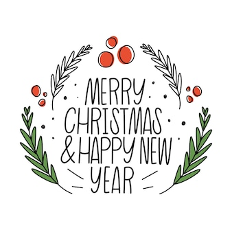 Vrolijk kerstfeest en een gelukkig nieuwjaar. belettering, twijgen en rode bes.