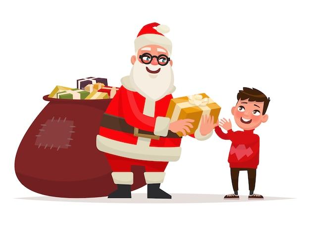 Vrolijk kerstfeest en een gelukkig nieuwjaar. de kerstman geeft de jongen een cadeau. illustratie